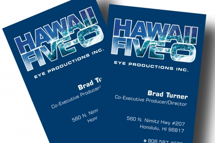 Courier printing hawaii five o business cards fortunate to print the business cards for the new tv series hawaii five 0 printed opaque white on blue paper then a second run of four color process reheart Gallery